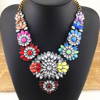 Free shipping Hot New Design Shourouk Style necklaces & pendants Colorful Gem Stone Choker Statement Necklace Fashion for Women