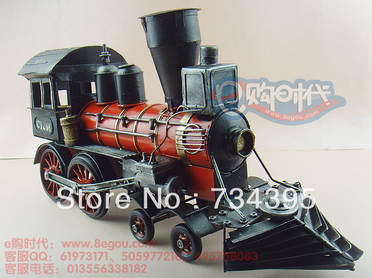 48cm simulation retro vintage steam locomotive model train tin crafts antique ornaments handmade gifts toys vehicles cars(China (Mainland))