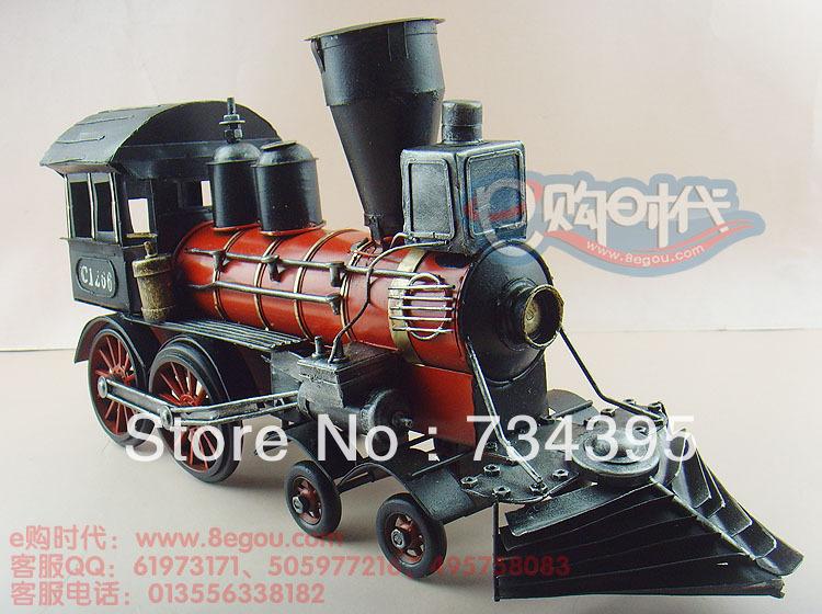 48cm simulation retro vintage steam locomotive model train tin crafts antique ornaments handmade gifts toys vehicles cars(China (Mainland))