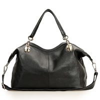 Wholesale-2 Size Soft Surface Lady Genuine Leather Shoulder Bag Fashion Black Retro Style Messenger Bags Women Handbags,Q0412