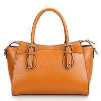 Fashion Yellowish Brown Handbag Korean Style Women Tote Oil Wax Genuine Cow Leather Motorcycle Bag Shoulder Messenger Bags,Q0408