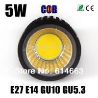 High Quality 5W E27 E14 GU10 GU5.3 Dimmable Led COB Spotlight white/ Warm white Led Spot Light Lamp Bulb Home Ceiling Lighting