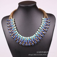 2014Fashion Women's Gold Plated Resin Gem Bubble Choker Bib Statement Necklace