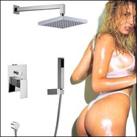 Copper Chrome Bathroom Shower Faucets Lanos Square Shower Set Bath Shower Bath Mixer Wall Tap Torneira Chuveiro Banheiro Ducha