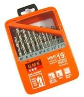 19pcs 1-10mm HSS-G twist drill bit set DIN 338, HSS Jobber metal drill set, Metal case, Drilling tool kit, Free shipping