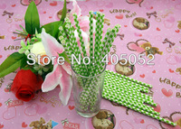 Wholesale 500pcs Wedding Birthday Party  Supplies Colorful Paper Drinking Straws With Lime Green  Checkers 191.ZF376