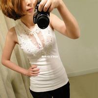 2014 New Fashion Women's Sexy Transparent Lace Lapel Joker Threaded Slim Tank Top Vest Camisole Shirt 17629 F