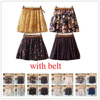 17 Colors Pleated Floral Chiffon Women Ladies Cute Mini Skirt (with belt) Free shipping