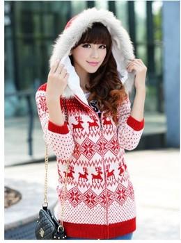 свитер новые 2014 моды Зимние новые длинные капюшоном меховой воротник толщиной олень снежинка толстые женщины теплый свитер 0906