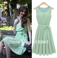 2014 Summer European Style Sleeveless Vest Dress Chiffon Pleated Round Neck Dress