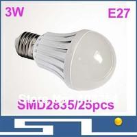 3W SMD2835 LED bulb lights, smart LED ceiling light 270lm, E27base lamp,220V-240V input,Energy-saving, 30pcs/lot, free shipping