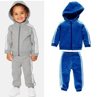 Retail  new US / UK style high quality set winter hooded jacket  brand baby boy's tracksuit  track kids suit