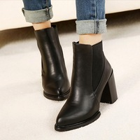 Free shipping 2015 Genuine leather thick heel boots pointed toe high-heeled boots female thermal boots women's martin boots