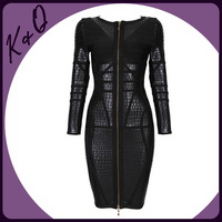 Newest Unique Design Front Zipper Sexy Black Jacquard Mid-long High-end HL Bandage Dress Bodycon Dress Factory Dropshipping