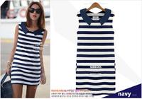 Hot Sale 2014 Summer Clothes Women Fashion Denim Sailor Collar Sleeveless Casual Striped Jeans Dress Ladies Blouses Tops J2219