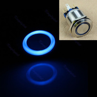 Car Vehicle 22mm 12V Blue LED Angel Eye Push Power Button Metal Switch Latching Blue /red