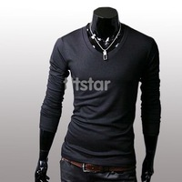 Men's Slim Fit Solid Color Stylish V Neck Long Sleeve T-shirts Tee Tops M/L/XL/XXL #SV3466