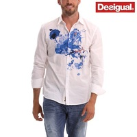 spain brand desigual men casual white cotton poplin print camisas long sleeve shirts M L XL XXL XXXL free shipping