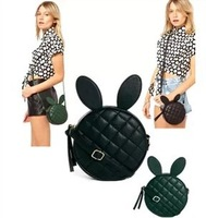 Free shipping!2014 women's handbags cartoon rabbit ear bags rivet quilted small circle  bags