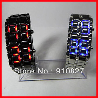 500pcs led bracelet watch fashion new volcano Lava Style Iron Samurai Metal Blue Red light led watches DHL free shipping