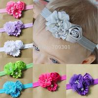 Flower Headbands infant headbands diamond chiffon flower with rose headbands 36pcs free shipping