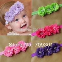 solid chiffon flower headbands infant headbands baby headbands chiffon pearl diamond flower headbands 36pcs