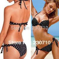 2014 New arrival! Women swimsuit polka dot patterns bikini beach push up swimwear Suit for slim lady Freeshipping FZ 140