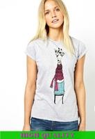 New 2014 Fashion T Shirt Women Cartoon Giraffe Printed Light Gray O-Neck Slim Casual Blusas Femininas Plus Size Women Clothing