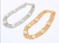 Unique Chunky 3 Rows Gold/Silver Plated Chain Animal Lion 5 Head Choker Necklace
