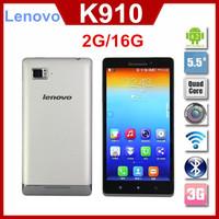 Original Lenovo Vibe Z K910 5.5'' FHD Quad core Mobile Phone Snadragon 800 CPU 2GB RAM 5MP + 13MP Dual Sim 3G GPS Android 4.2