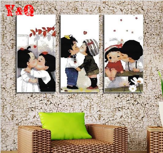 Cartoon baby lovers cross stitch kit kids picture embroidery DIY handmade kit needlework set wall home decor(China (Mainland))
