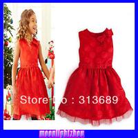 2014  baby  girl party dress O-neck Bow Shoulder Decor  Princess Dress xs 025  l