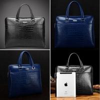 Hot!!! Men's Cowhide Real Leather Crocodile  Briefcase Tote Bag Top Zipper Closure AR190