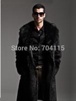 2014 men long design eco-friendly faux overcoat thick autumn and winter fur coat