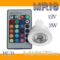 16 Colors 3W MR16 RGB LED Light Bulb Spotlight Bulb LED Lamp +24Key IR Remote controller 10set/lot(10*LB00009)