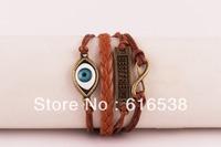 3pcs Evil Eye Bracelet - Infinity, Best Friend & Evil Eye Charm Bracelet in Silver - Wax Cords and Leather Min order 10$