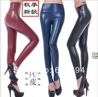 Free ship new fashion women faux leather pu pants female skinny elastic trouser spring autumn winter high waist high quality