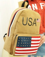 NEW Factory direct USA fashion casual backpack Suede American flag pattern backpack bookbag Free Shipping