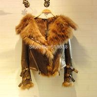 2014 autumn winter new womens patterns PU jackets coat streetwear luxury fox fur hooded motorcycle black jacket brand outerwear