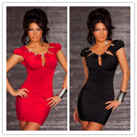 new spring summer arrival 2014 casual party sexy bodycon  fashion plus size clearance evening club black  tunic red dress