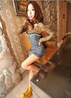 women's fashion sexy slim waist slim hip leopard print denim one-piece dress