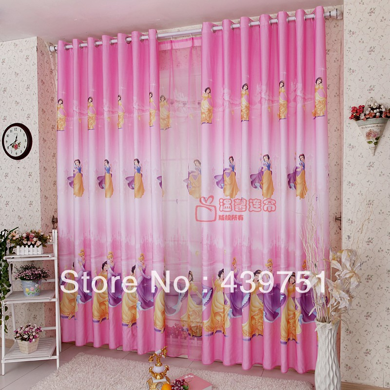 Kids children cartoon curtains for window fabric cortinas snow white living room bedroom luxury curtains cloth tulle for girls(China (Mainland))