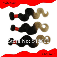 "Queen hair products ombre hair extensions brazilian body wave 1b#/27# 2 tone color 14""-24"" mixed length 4pcs/lot"