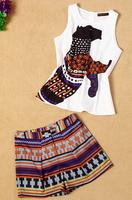2014 new runway fashion brand women's leopard print sleeveless top stripe shorts plus size clothing suits twinset S,M,L,XL