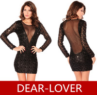 Black Sequin Party Dress hollow back mesh Long Sleeve Women Dress