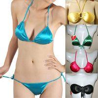 Bikini skimpily bra set glossy halter-neck triangle cup silks and satins wire satin underwear fabric panties