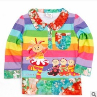Wholesale 2014 New autumn spring Children Kids clothing garden baby girls long-sleeve cottonT-shirt Cute baby Parttern Tees L449