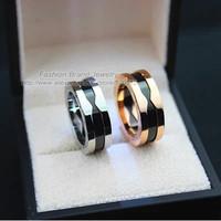 White Black Ceramic Ring Titanium Stainless Steel Silver Ring Women Men Couples Ring Luxury Brand Jewelry Acessorios Platinum