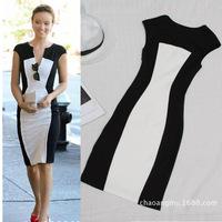 2014 Spring new fashion Hot big European American women's fashion sexy V-neck casual dress stitching Pencil Bandage Dress #4050