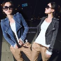 2014 New Fashion Women's Blazer Denim Jeans Jacket Coat Long Sleeve Zipper Up Motorcycle Jeans Coat Black/Blue B16 16550